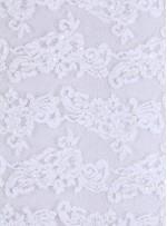 Kordoneli Boncuklu Beyaz Abiyelik Kumaş - K5640