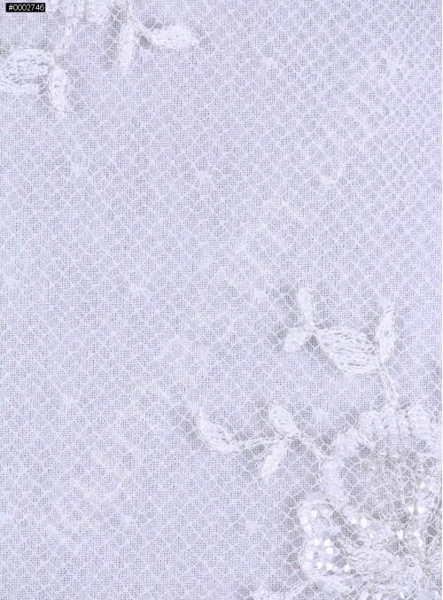 Eteği Sulu Aplike Desenli Abiyeli Kumaş - K5645