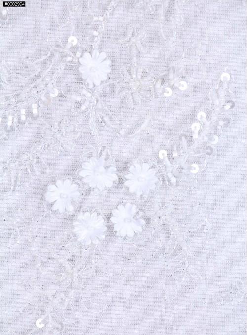 Çiçekli Boncuklu Beyaz Zarif İşlemeli Gelinlik Dantel Kumaş - K5649