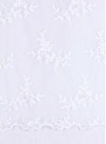 Çiçek Desenli Payetli ve Boncuklu Beyaz Gelinlik Kumaş - K5653