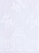 Beyaz Kordoneli Gelinlik Payetli ve Boncuklu Dantel Kumaş - K5665