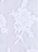 Aplike Kesilebilir Beyaz Gelinlik Kordoneli Dantel Kumaş - K5669