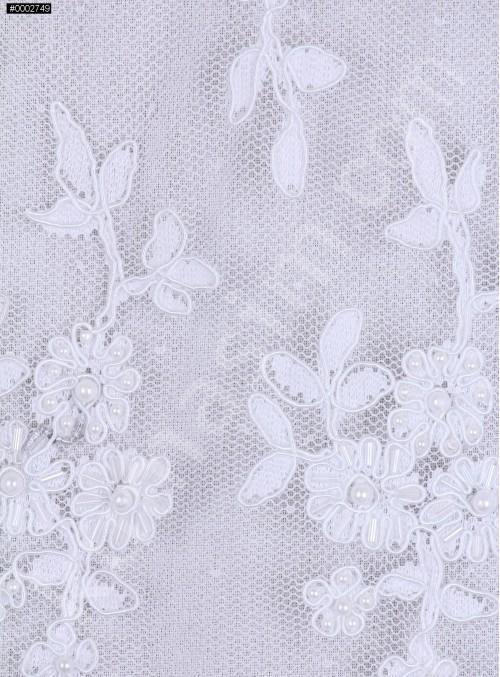 Çiçek Desenli Kordoneli Boncuklu Kumaş - K5672