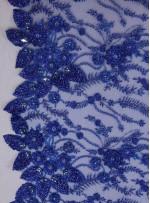 Kenarı Dilimli Çiçek Desenli Gelinlik ve Nişanlık Taşlı Saks Kumaş - K5677