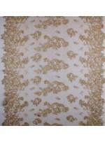 Gelinlik ve Nişanlık Kenarı Dilimli Çiçek Desenli Taşlı Gold Kumaş - K5678