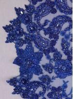 Gelinlik ve Nişanlık Kenarı Dilimli Çiçek Desenli Taşlı Saks Kumaş - K5678
