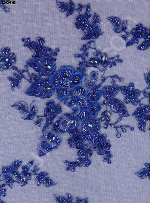 Gelinlik ve Nişanlık Kenarı Dilimli Saks Çiçek Desenli Taşlı Kumaş - K5680