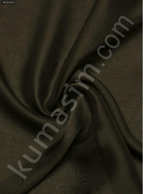 Elbiselik %100 İpek Kahverengi Şifon Kumaş - 101 - K6000