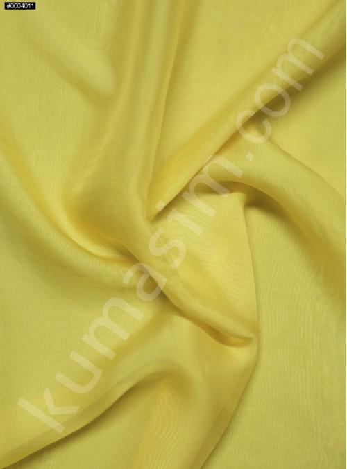 Elbiselik %100 İpek Sarı Şifon Kumaş - 132 - K6000