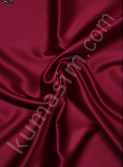 Elbiselik Koyu Kırmızı %95 İpek - %5 Likra Saten Kumaş - 127 - K6007