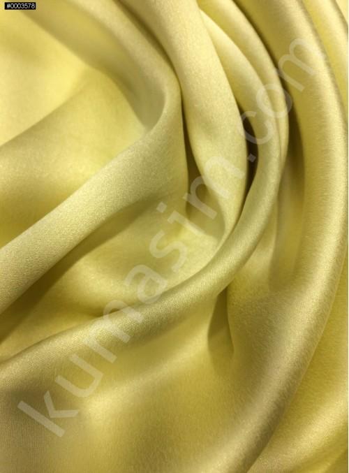 Açık Sarı c105 Elbiselik Taşlanmış Likra Saten Kumaş - K6009