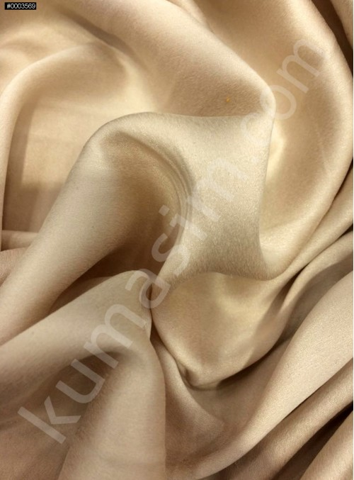 Bej c103 Elbiselik Taşlanmış Likra Saten Kumaş - K6009
