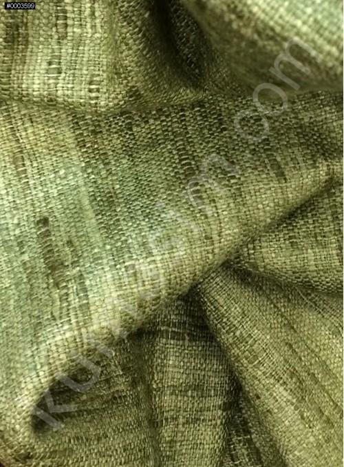 Elbiselik c106 %100 Yeşil İpek İndus Keten Kumaş - K6028