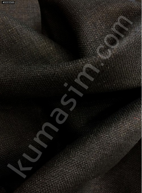 Elbiselik Yumuşak c114 %100 Siyah İpek Monza Keten Kumaş - K6029