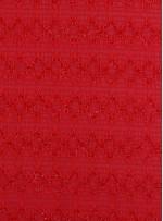 Kırmızı Yoryo Şifon Üzerine Simli Kordone İşleme Kumaş - K62000