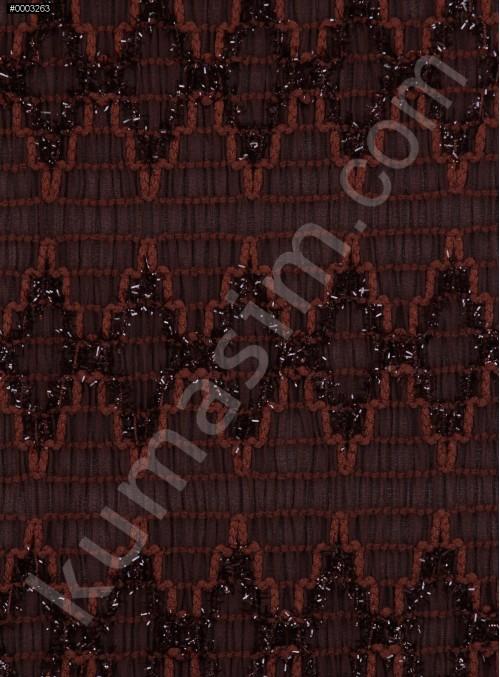 Koyu Kahve Yoryo Şifon Üzerine Simli Kordone İşleme Kumaş - K62000