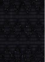 Siyah Yoryo Şifon Üzerine Simli Kordone İşleme Kumaş - K62000