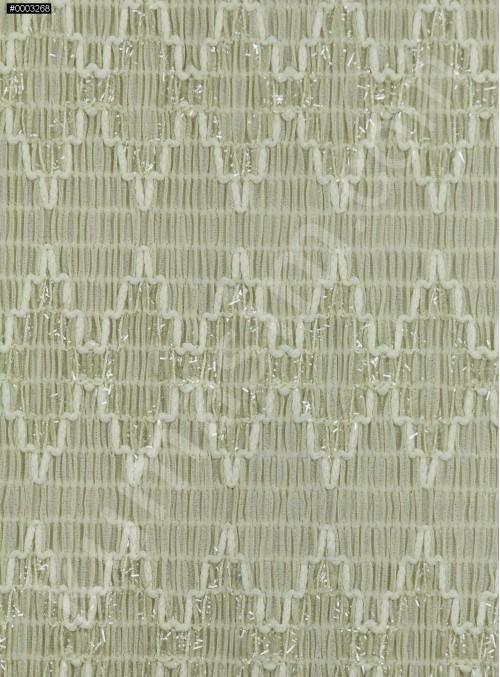 Yeşil Yoryo Şifon Üzerine Simli Kordone İşleme Kumaş - K62000