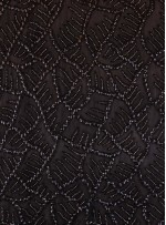 Dal Desenli Siyah Payetli ve Boncuklu Kumaş - K6579