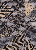 File Üzeri Baskılı Nakışlı Siyah - Gold Dantel Kumaş - K69510