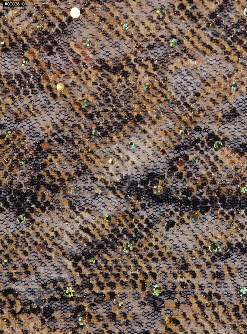 File Üzeri Baskılı Kahverengi Payetli Dantel Kumaş - K69570