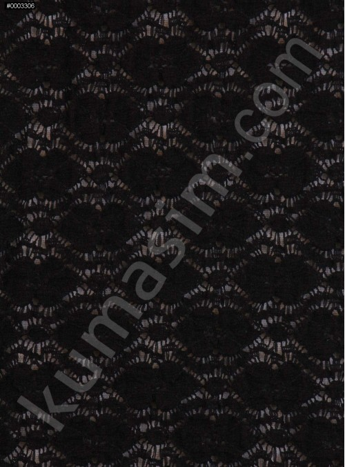 Likralı Siyah Dantel Kumaş - K71680
