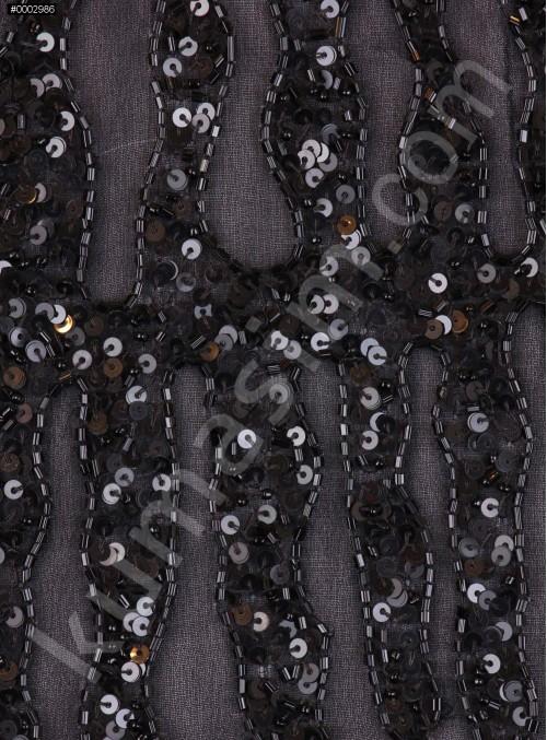 Çit Desenli Payetli - Boncuklu - Lase Siyah Kumaş - K7470