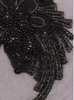 Çiçek Desenli - Swarovski Taşlı ve Boncuklu Siyah Aplike - A7608
