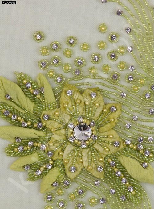 Çiçek Desenli - Swarovski Taşlı ve Boncuklu Yeşil Aplike - A7613