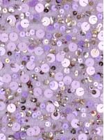 Büyük ve Küçük Payetli - Boncuklu - Taşlı Lila Kumaş - K7618