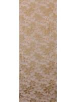 File Üzeri Çiçek Desenli Simli Nakışlı Kahverengi Kumaş - K8021