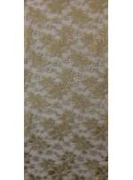 File Üzeri Çiçek Desenli Simli Nakışlı Yeşil Kumaş - K8021