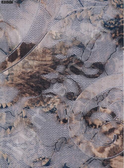 Flok Baskılı Abiyelik Dantel Kumaş - K8024