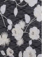 Çiçek Desenli Siyah Beyaz Dantel Kumaş - K8026