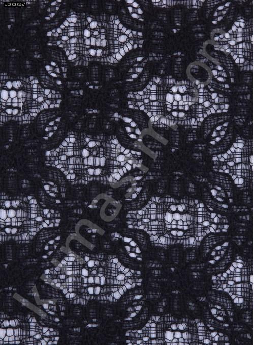 Dantel Üzeri Kordone Kumaş - Siyah - K8039
