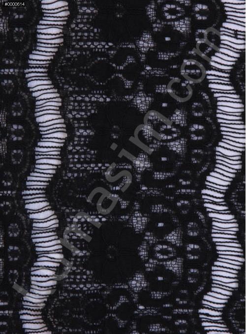 Dilimli Kordone Dantel - Siyah - K8075