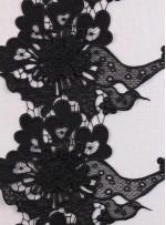 3 Boyutlu Çiçek Desenli  Siyah Dantel Güpürlü Kenar - Şerit - Bordür - K8077