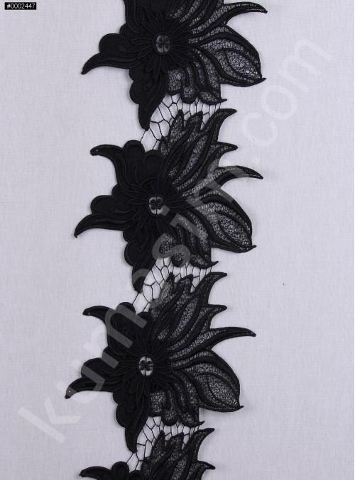 3 Boyutlu Çiçek Desenli  Siyah Dantel Güpürlü Kenar - Şerit - Bordür - K8078