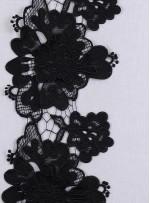 3 Boyutlu Çiçek Desenli  Siyah Dantel Güpürlü Kenar - Şerit - Bordür - K8079