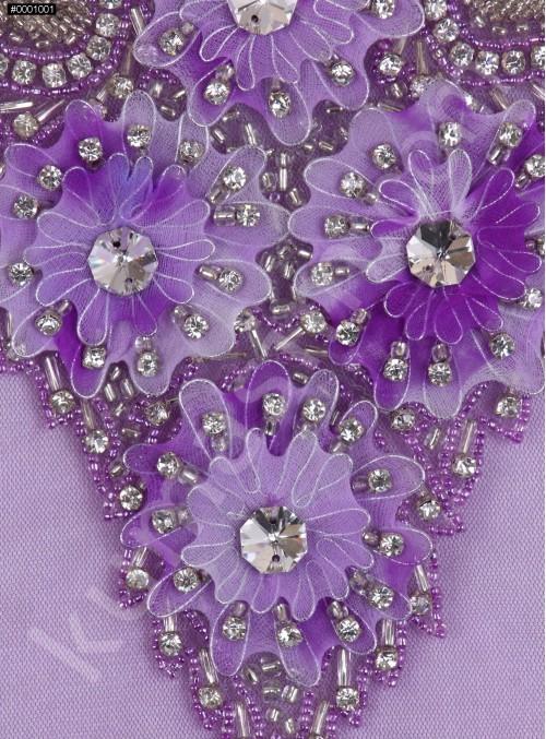 Çiçek Desenli - Swarovski Taşlı ve Boncuklu Mor Aplike - A8168