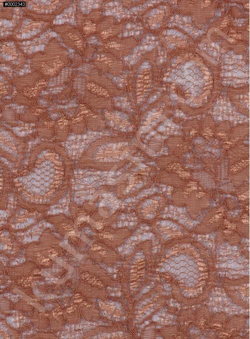 Çiçek Desenli Kordoneli Kahve Camel Taba c63 Dantel Kumaş - K8803