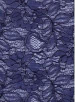 Çiçek Desenli Kordoneli Lacivert c18 Dantel Kumaş - K8803