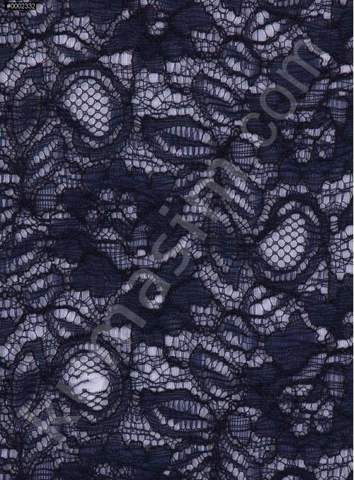 Çiçek Desenli Kordoneli Lacivert c47-1 Dantel Kumaş - K8803