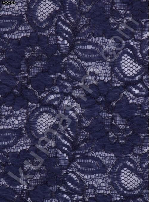 Çiçek Desenli Kordoneli Lacivert c47 Dantel Kumaş - K8803
