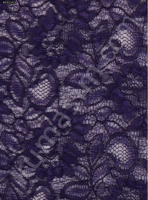Çiçek Desenli Kordoneli Patlıcan Moru c55 Dantel Kumaş - K8803
