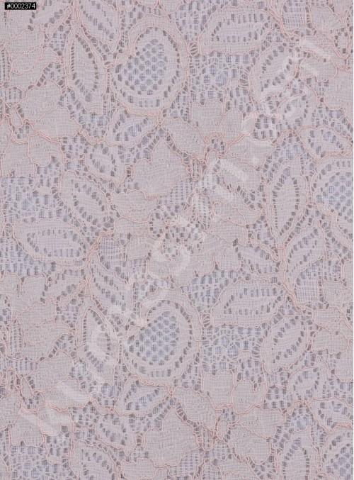 Çiçek Desenli Kordoneli Pudra c45 Dantel Kumaş - K8803