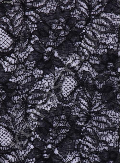 Çiçek Desenli Kordoneli Siyah Dantel Kumaş - K8803