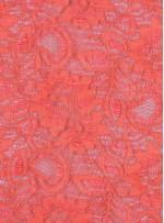 Çiçek Desenli Kordoneli Turuncu c46 Dantel Kumaş - K8803