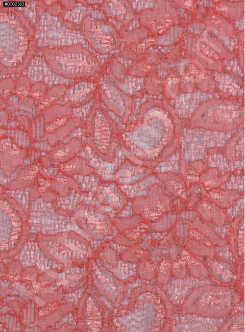 Çiçek Desenli Kordoneli Turuncu c61 Dantel Kumaş - K8803