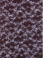 Çiçek Desenli Kahve Payetli Dantel Kumaş - K8824